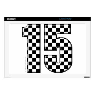 "15 checkered auto racing number 17"" laptop skins"