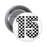 15 checkered auto racing number 2 inch round button
