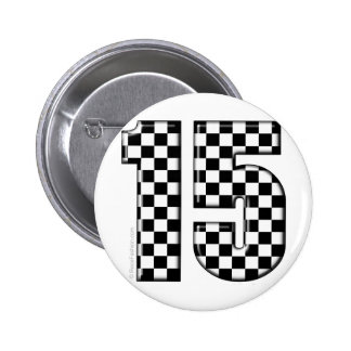 15 checkered auto racing number button