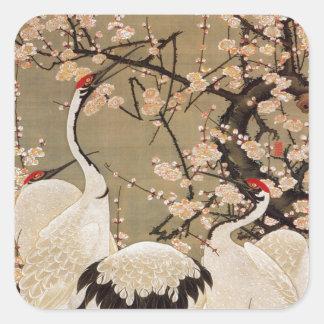 15. el 梅花群鶴図, ciruelo del 若冲 florece y las grúas, pegatina cuadrada