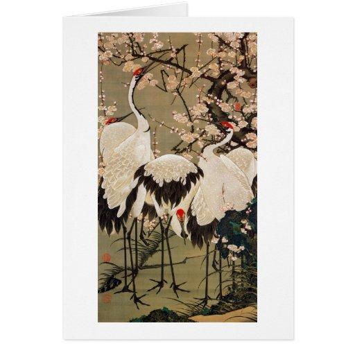 15. el 梅花群鶴図, ciruelo del 若冲 florece y las grúas, tarjeta de felicitación