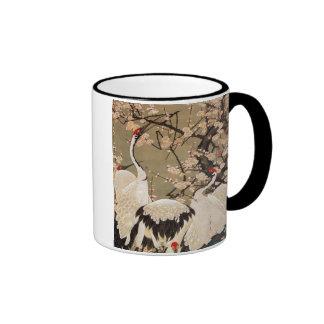 15. el 梅花群鶴図, ciruelo del 若冲 florece y las grúas,  tazas de café