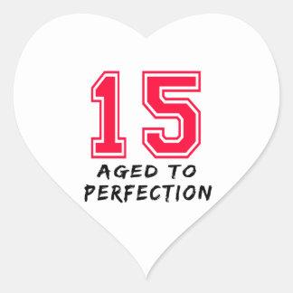 15 envejeció al diseño del cumpleaños de la pegatina corazon personalizadas
