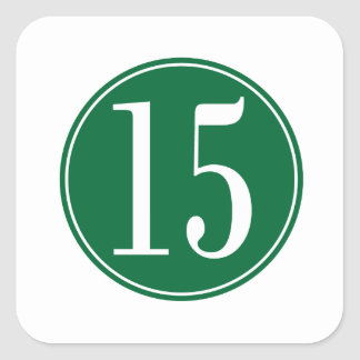 #15 Green Circle Square Sticker