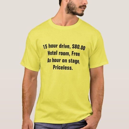 15 hour drive, $80.00Hotel room, FreeAn hour on... T-Shirt