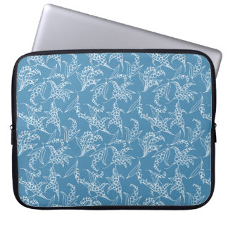 15-inch Laptop Sleeve: Lilies-of-the-Valley, Blue Computer Sleeve