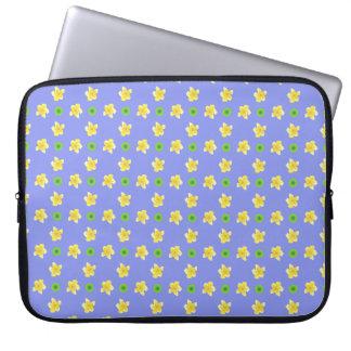 15-inch Laptop Sleeve: Primroses on Violet Blue Laptop Sleeves