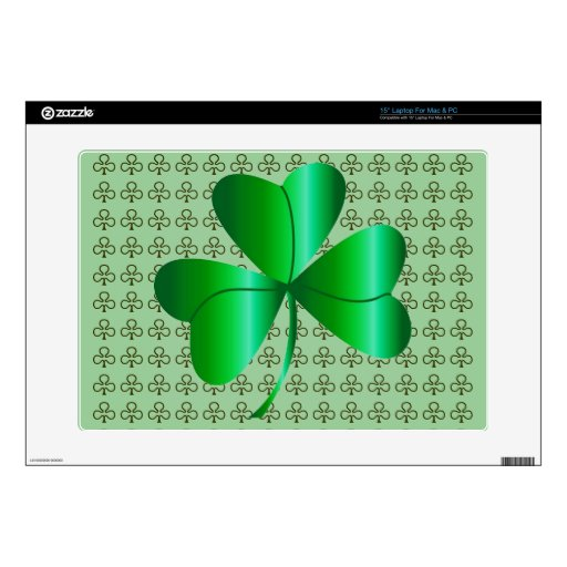 """15"""" Laptop Skin for Mac or PC with Shamrock Design"""