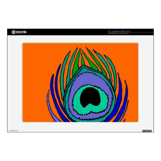 """15"""" laptop skin Mac or PC Peacock Feather Bright"""