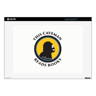 "15"" Laptop Skin This Smart Caveman Reads Books"