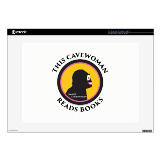 """15"""" Laptop Skin This Smart Cavewoman Reads Books"""