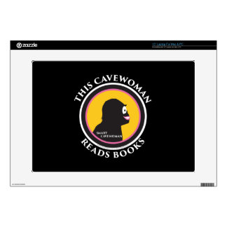 "15"" Laptop Skin This Smart Cavewoman Reads Books"