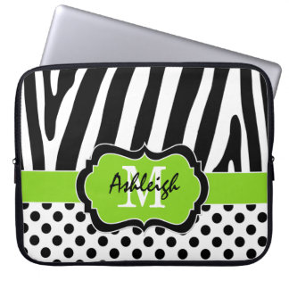 "15"" Lime Black Zebra Stripes Polka Dot Laptop Case Laptop Sleeves"