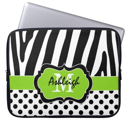 "15"" Lime Black Zebra Stripes Polka Dot Laptop Case Laptop Sleeve"
