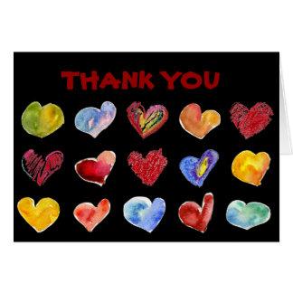 15 Love Hearts Black Thank You Card