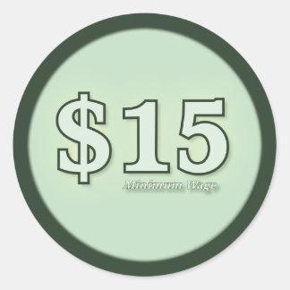 $15 Minimum Wage cash stickers - light number