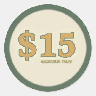 $15 Minimum Wage Sticker - Gold Number
