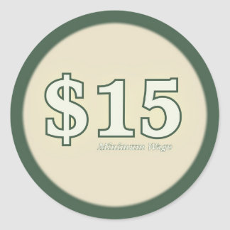 $15 Minimum Wage Sticker - Light Number