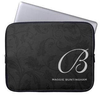 "15"" Monogrammed Black Damask Custom Laptop Sleeve"