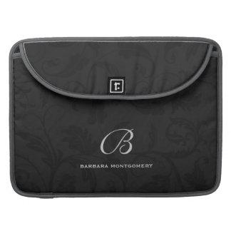 "15"" Monogrammed Black Damask Custom Sleeves For MacBook Pro"