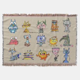 15 Monsters Cartoon Throw Blanket