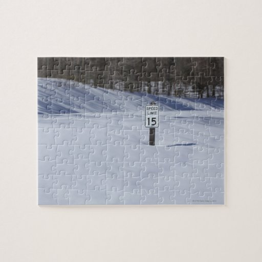 15 mph sign buried in snow jigsaw puzzles