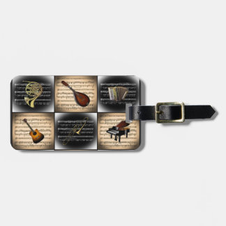 15 Musical Instruments ~ Sheet Music Background Bag Tag