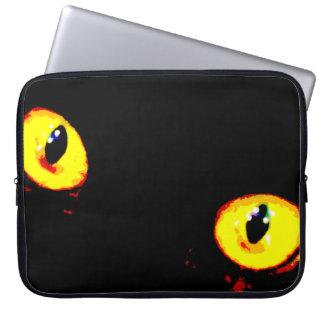 "15"" ojos de gato negro de la manga del ordenador fundas computadoras"