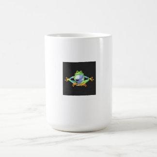 15 onzas. Taza de café con la rana meditating