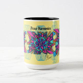15 Oz Mug: Peace Harmonics Two-Tone Coffee Mug