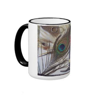 15 oz. ringer mug featuring fly tying materials.
