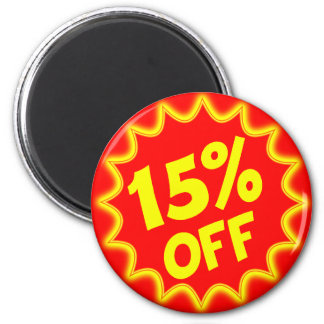 15 PERCENT OFF RETAIL LABEL 2 INCH ROUND MAGNET