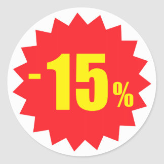 15 percent sale discount stickers, white and red classic round sticker
