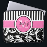 """15&quot; Pink Black White Damask Striped Laptop Sleeve<br><div class=""""desc"""">This chic and trendy personalized black,  pink,  and white stripes with floral damask pattern laptop sleeve has text boxes for you to customize with your own name,  initials,  monogram,  business name,  or other text. If you need any help customizing,  please email niteowlstudio@gmail.com.</div>"""