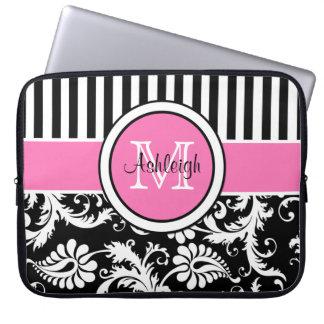 """15"""" Pink Black White Damask Striped Laptop Sleeve"""