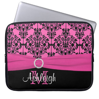 """15"""" Pink Black White FAUX Ribbon Laptop Sleeve"""