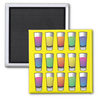 15 shooters of liquor 2 inch square magnet