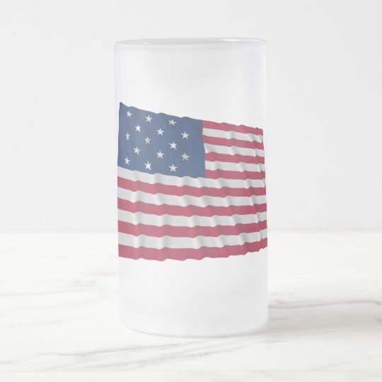 15-star flag frosted glass beer mug