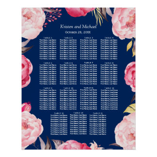 15 Tables Pink Floral Wreath Wedding Seating Chart