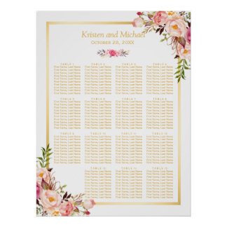 15 Tables Wedding Seating Chart Classy Chic Floral Poster