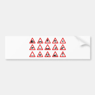 15 Triangle Traffic Signs Bumper Sticker