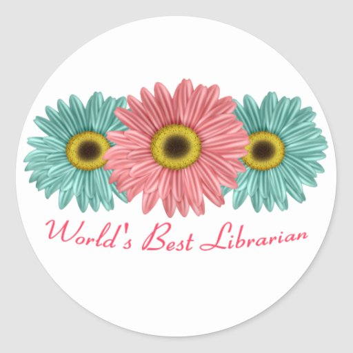 15 world's best librarian classic round sticker