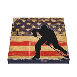"15"" x 16"" Canvas Print ~ USA Hockey Players"