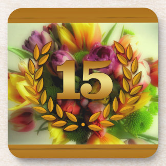 15 year anniversary floral illustration beverage coasters