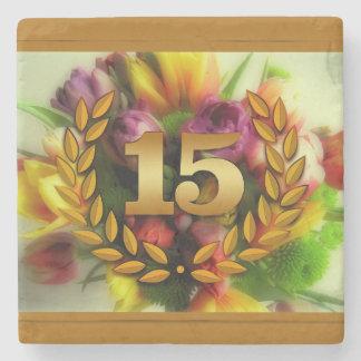 15 year anniversary floral illustration stone coaster