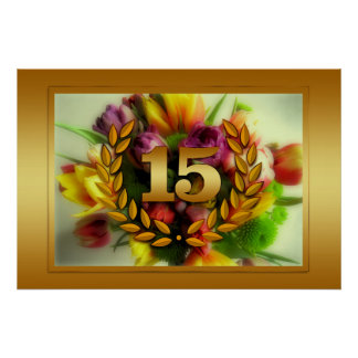 15 year anniversary floral illustration poster