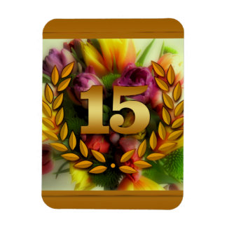 15 year anniversary floral illustration rectangular photo magnet