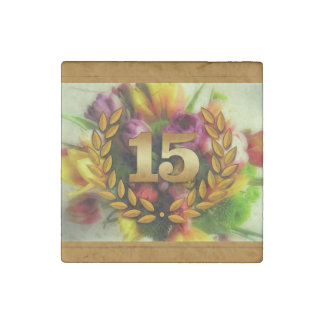 15 year anniversary floral illustration stone magnet