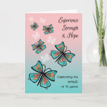 15 Year Miracle Clean and Sober Birthday Butterfly Card