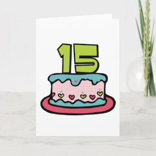 15 Year Old Birthday Cake Card